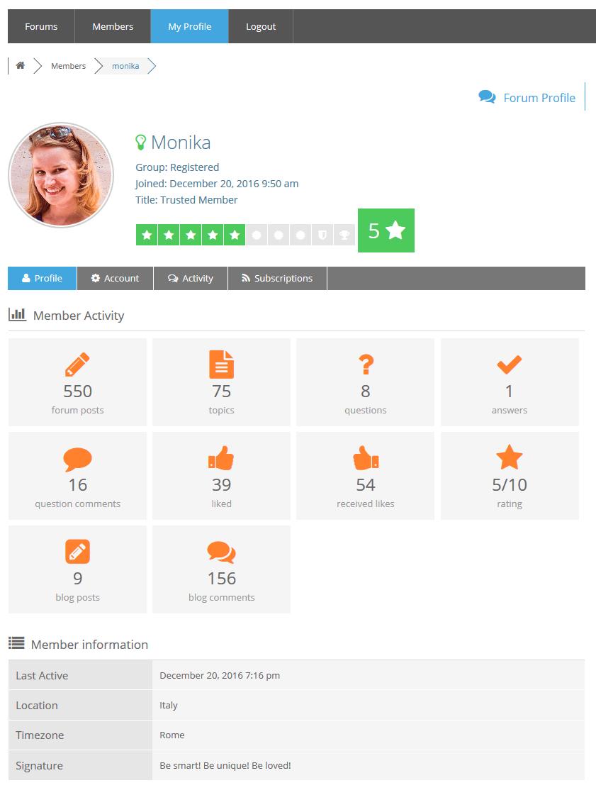 Member Profile – wpForo – WordPress Forum Plugin
