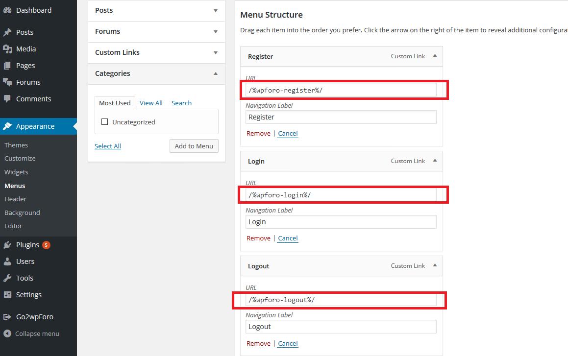 BuddyApp custom menu items section