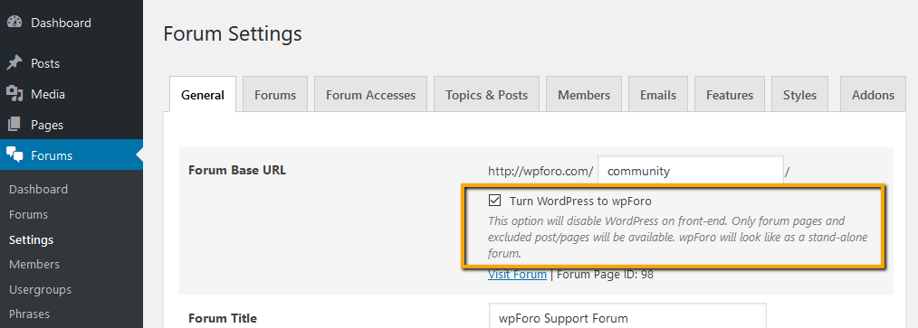 Turn WordPress to wpForo